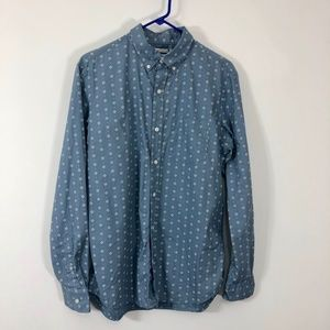 Old Navy Mens Button Down Shirt Long Sleeve Blue